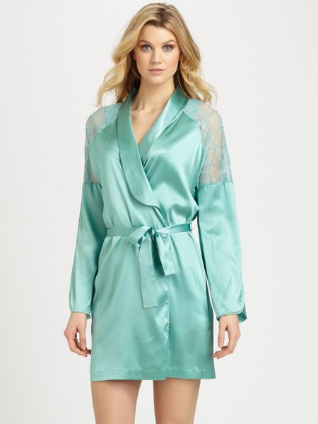 La Perla Park Lane Stretch Silk Robe in (green) | Lyst