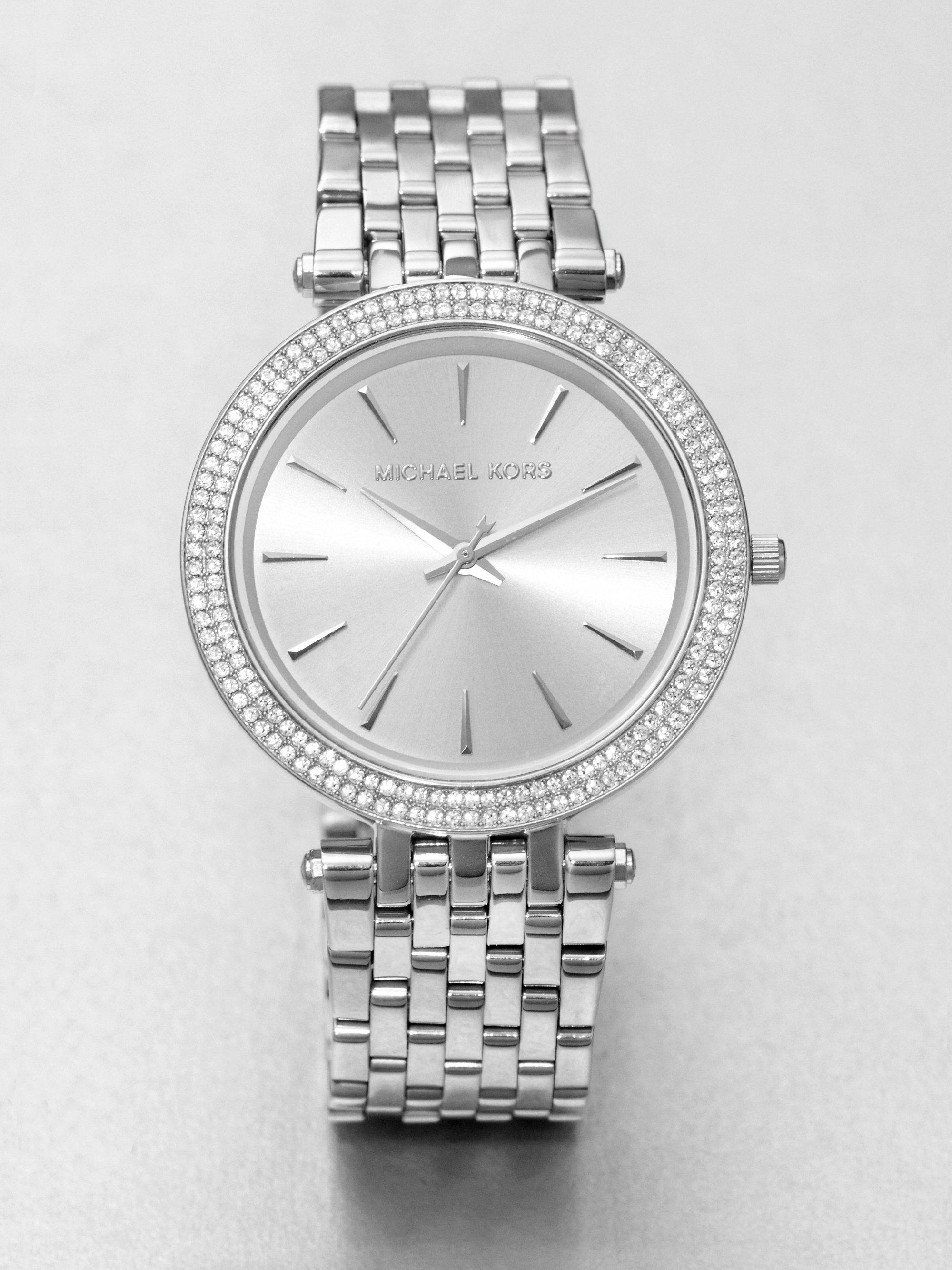 3f7264578c8b Lyst Michael Kors Darci Pave Stainless Steel Bracelet Watch In