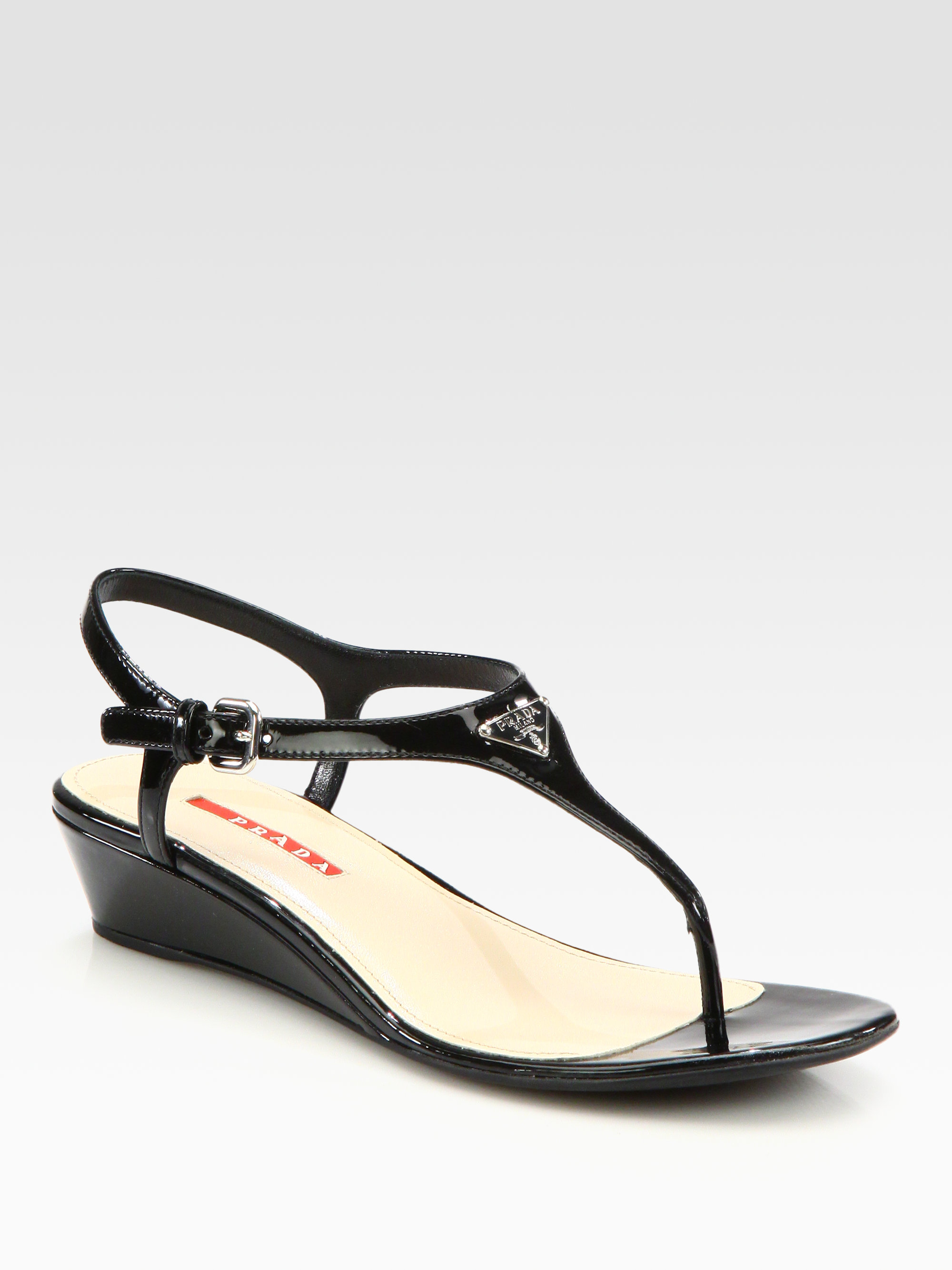 Prada Patent Leather Wedge Sandals low price fee shipping online outlet locations sale online cheap with paypal EuXyAzse