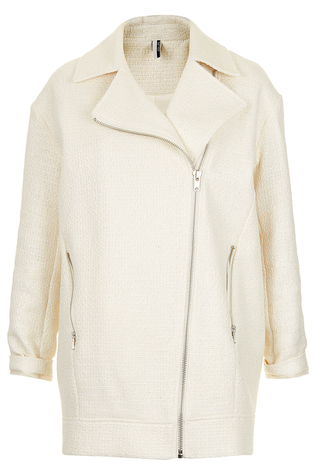 0a9bb69a7daa9 Lyst - TOPSHOP Textured Slouch Biker Jacket in White