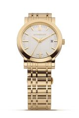 Burberry Oversized Round Goldtone Watch with Check Inspired Bracelet 38 Mm - Lyst