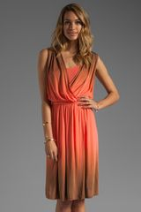 Plenty By Tracy Reese Dip Dyed Slinky Jersey Draped Surplice Dress in Clementineadobe - Lyst
