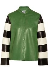 Acne Valentine Striped Dleeve Leather Jacket - Lyst