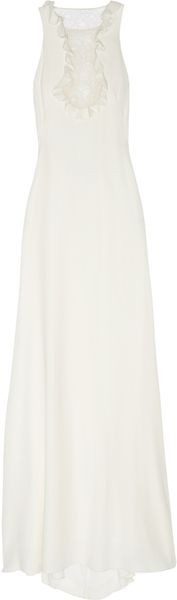 Alexander McQueen Silk-Crepe and Lace Gown - Lyst