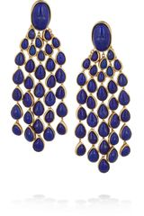 Aurelie Bidermann Cherokee Goldplated Lapis Lazuli Clip Earrings - Lyst