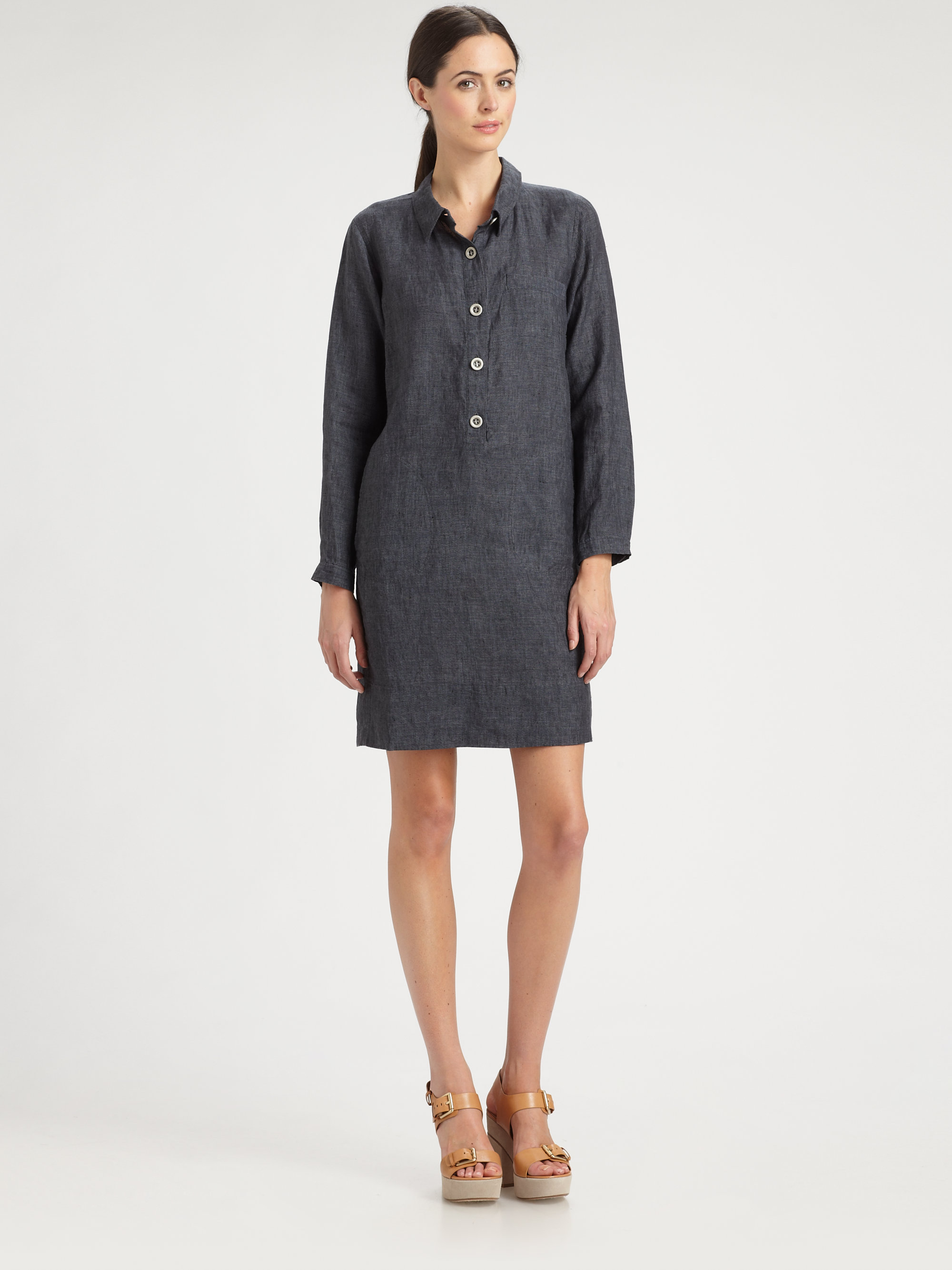 bbb1708b7eb Eileen Fisher Washed Linen Shirtdress in Gray - Lyst