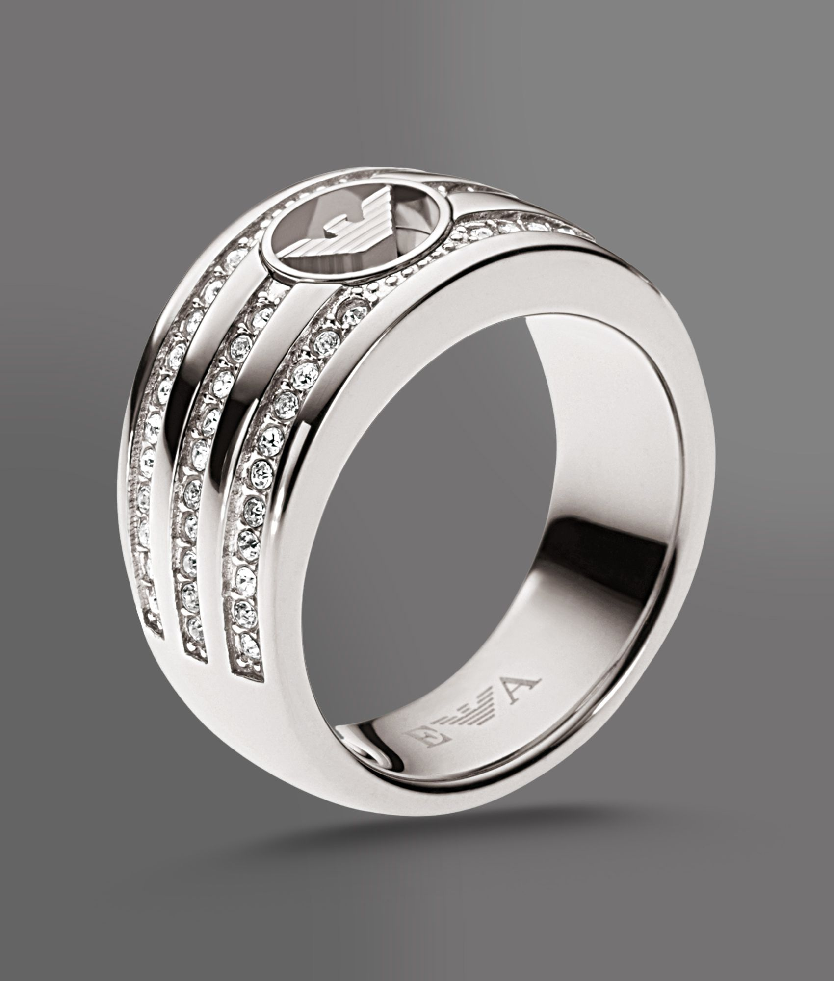 Lyst Emporio Armani Ring In Steel And Crystals In Metallic