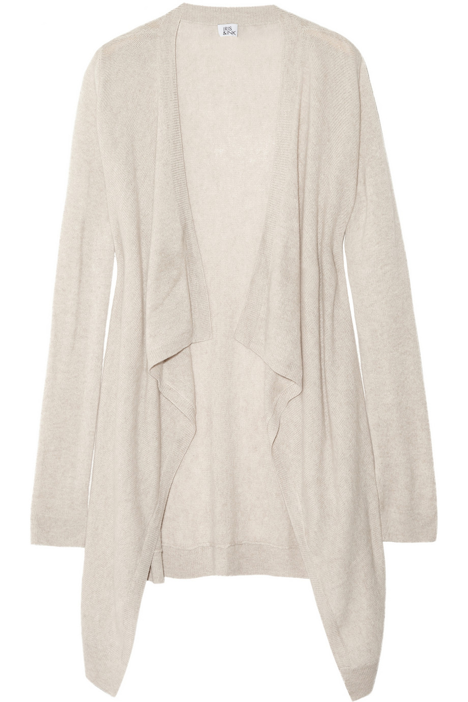 Iris & ink Draped Cashmere Cardigan in Natural | Lyst