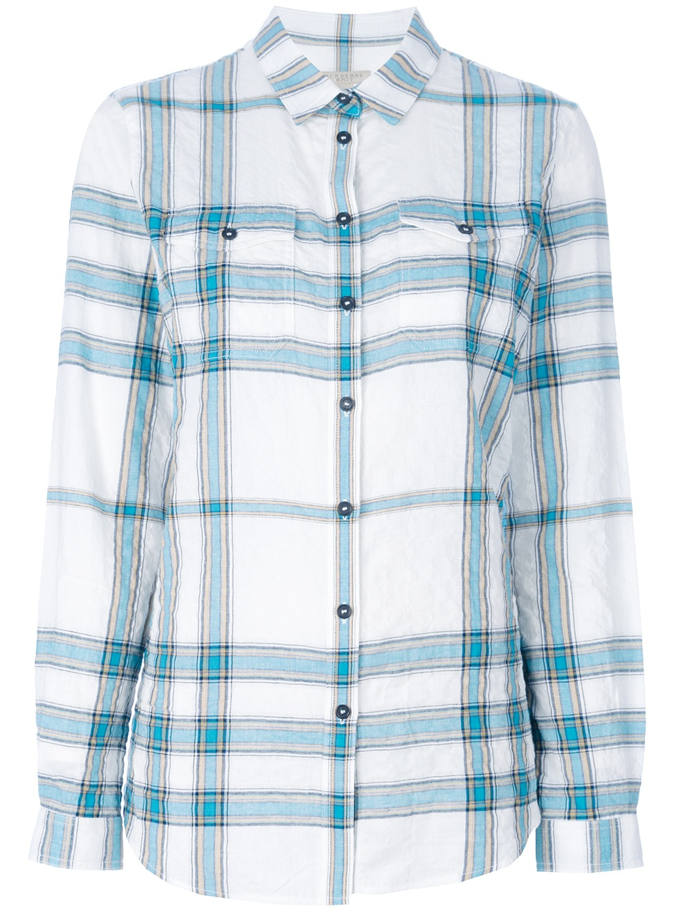 Burberry brit plaid shirt in blue lyst for Burberry brit checked shirt
