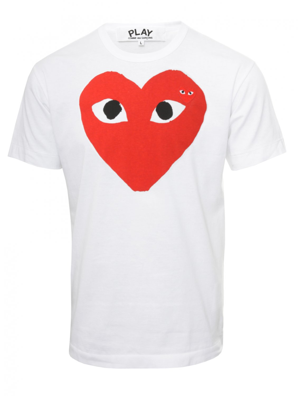 comme des gar ons play mens red heart logo t shirt white. Black Bedroom Furniture Sets. Home Design Ideas