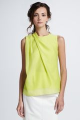 Halston Heritage Sleeveless Draped Shoulder Blouse - Lyst