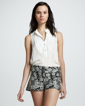Haute Hippie Floral Threadwork Shorts - Lyst