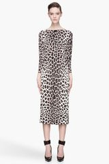 Marc Jacobs Brown and Ivory Silk Paneled Leopard Print Dress