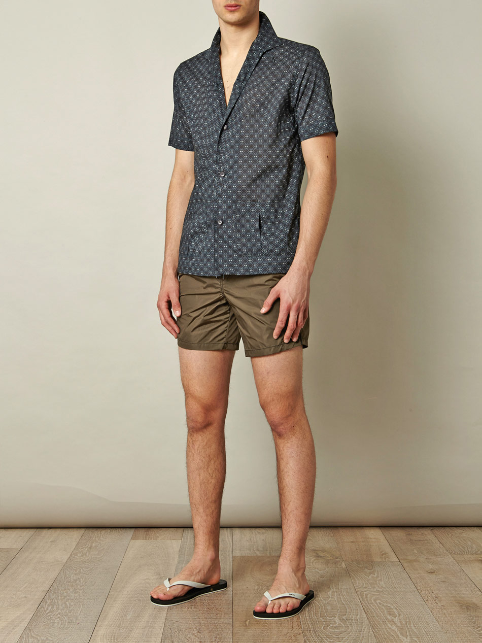Moncler Camouflage Waistband Swim Shorts in Natural for Men | Lyst