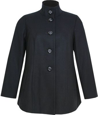 Ann Harvey Black Funnel Neck Coat - Lyst