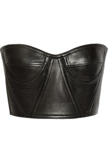 Balmain Cropped Underwired Leather Bustier - Lyst