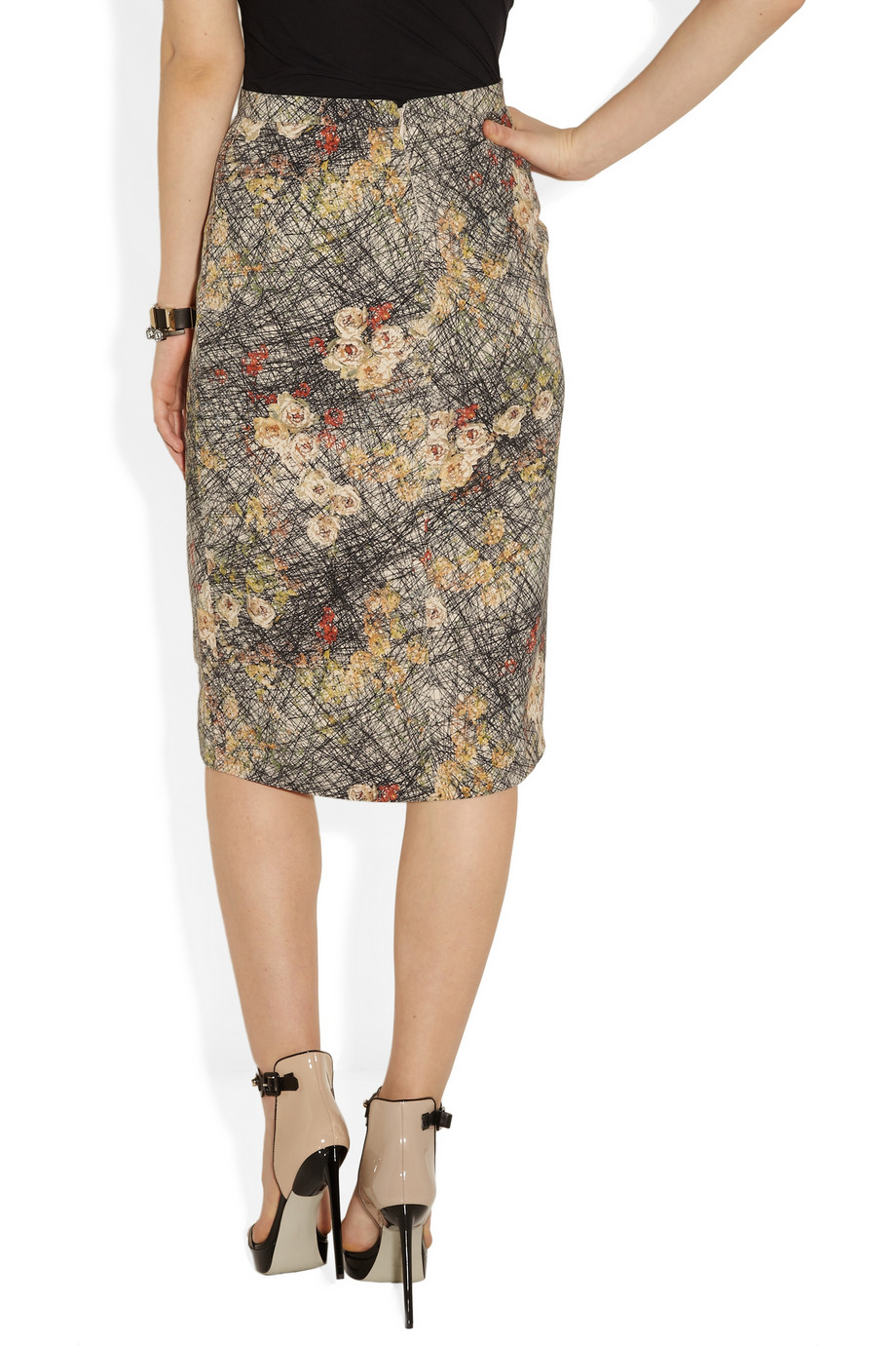 bottega veneta printed silk crepe de chine pencil skirt in