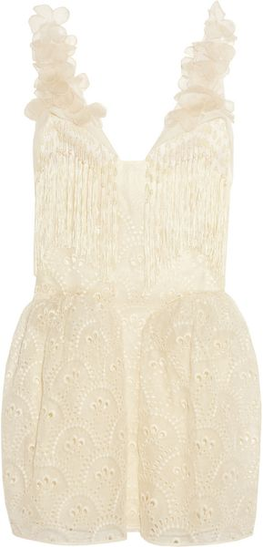 Delpozo Broderie Anglaise Cotton-Organza Dress - Lyst