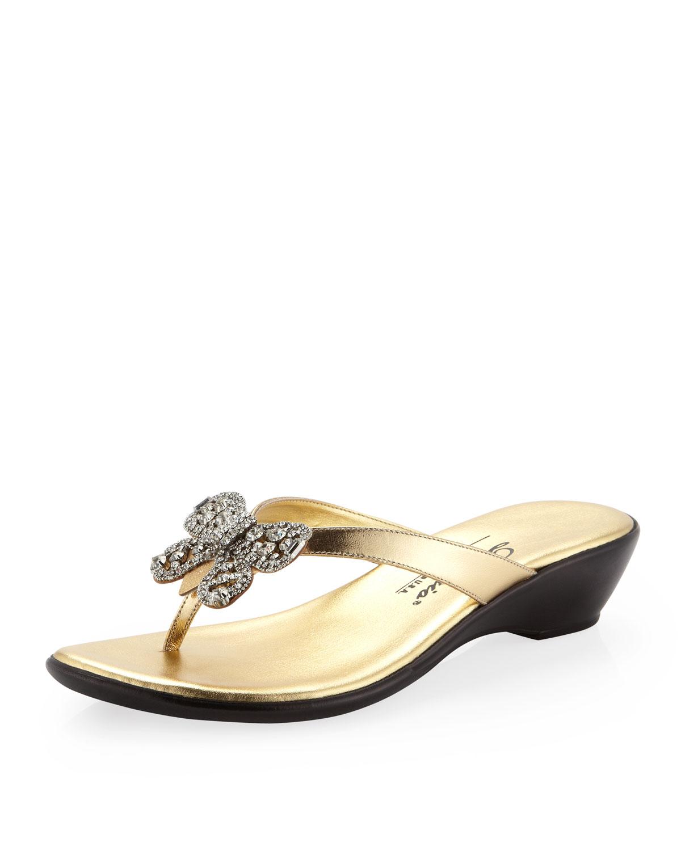 Dezario Flutter Rhinestone Bow Wedge Sandal Gold In