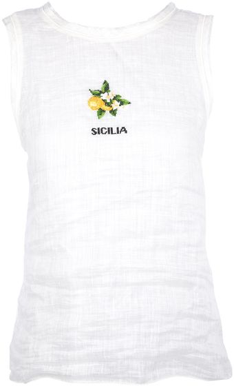 Dolce & Gabbana Embroidered Sicilia Vest Top - Lyst
