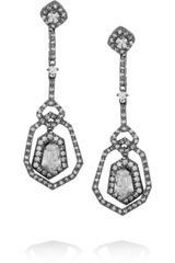 Kenneth Jay Lane Rhodium-Plated Crystal Earrings - Lyst