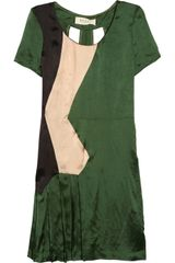 Marni Paneled Satin Twill Dress - Lyst