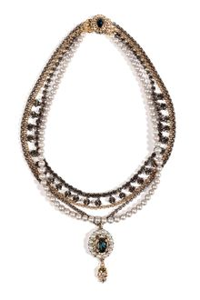 Mawi Antique Pearl and Crystal Necklace in Grey - Lyst
