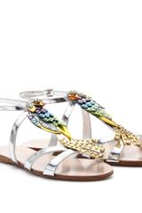 Miu Miu Metallic Leather Embellished Sandals - Lyst