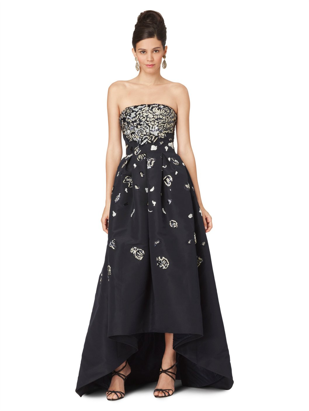 Lyst - Oscar De La Renta Strapless Embroidered Ball Gown in Blue