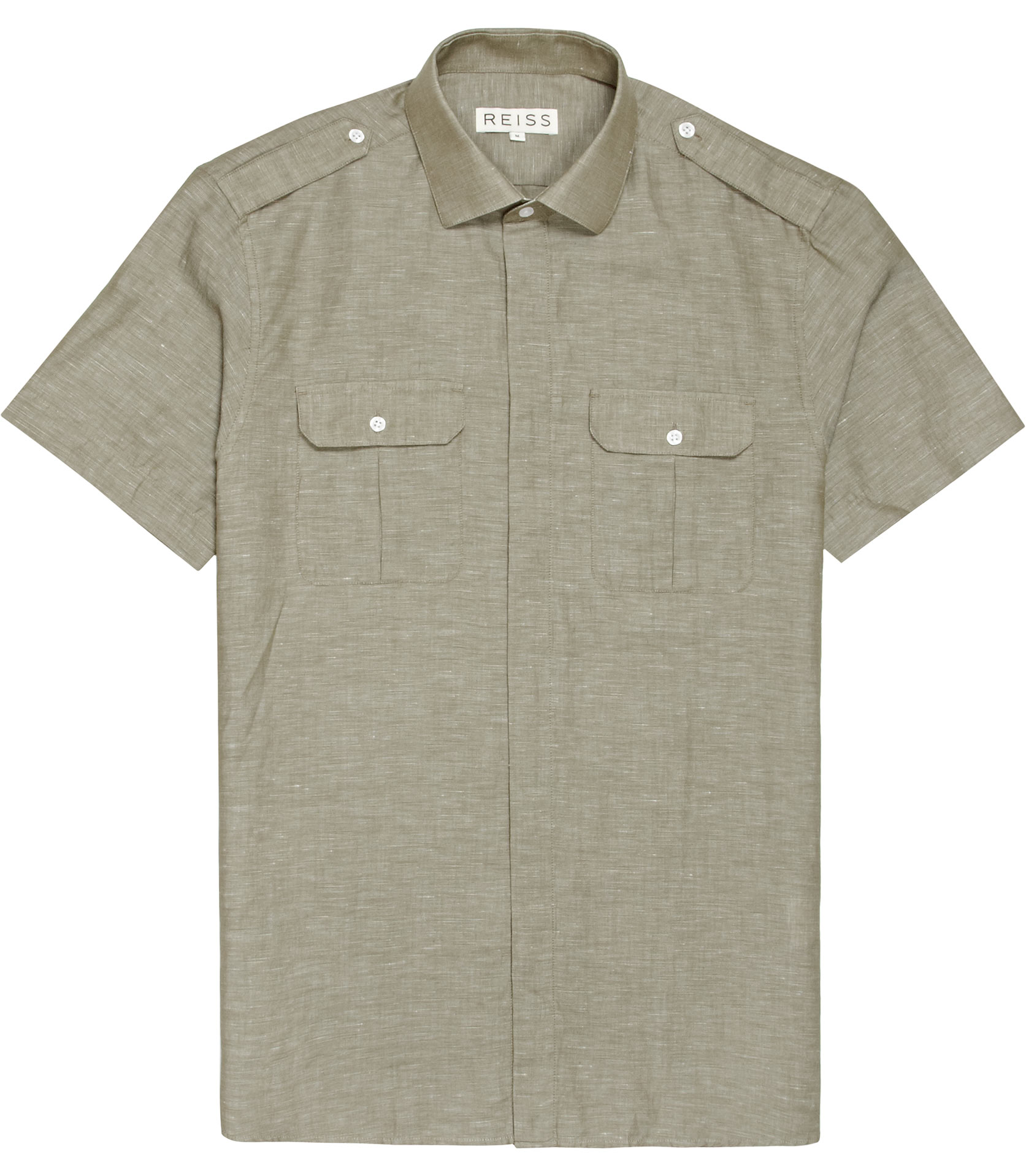 reiss amazon short sleeve two pocket safari shirt in green