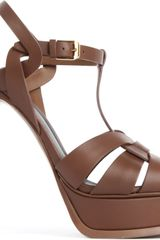 Saint Laurent Tribute Leather Platform Sandals - Lyst