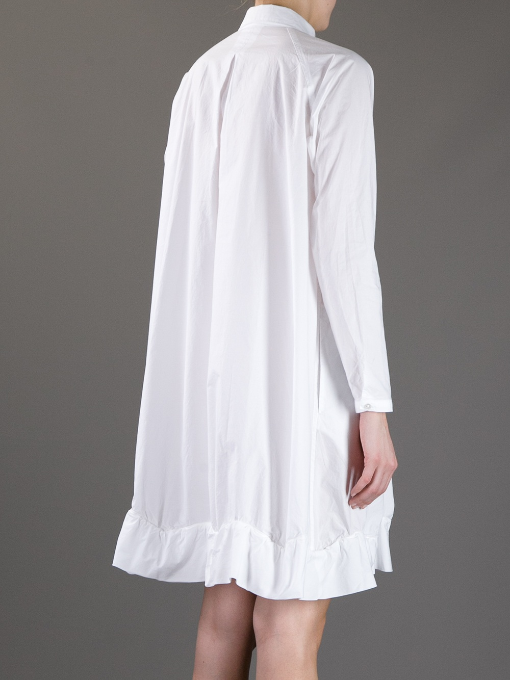Zucca Oversize Cotton Shirt Dress in White | Lyst