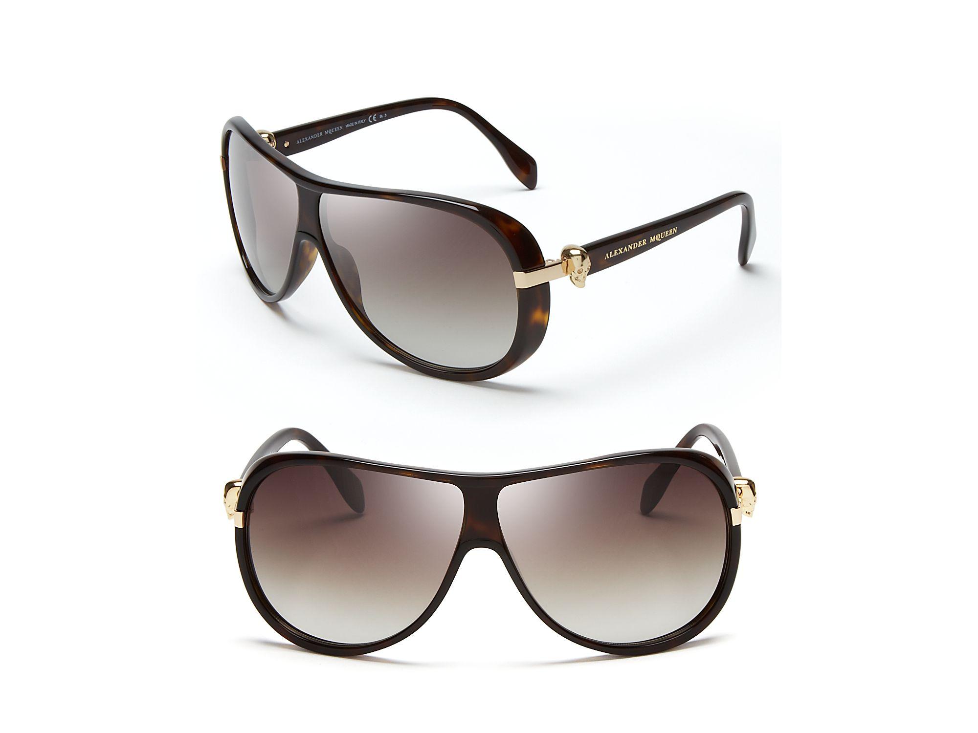 7601474ecd1c Lyst - Alexander McQueen Skull Temple Aviator Sunglasses in Brown ...