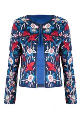 Alice + Olivia Giulia Embroidered Zipped Boxed Jacket
