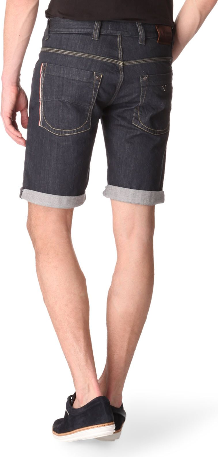 lyst armani jeans selvedge shorts in blue for men