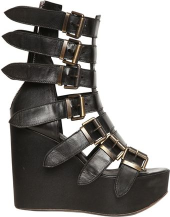 BB Bruno Bordese 120mm Belted Calfskin Boot Wedges - Lyst