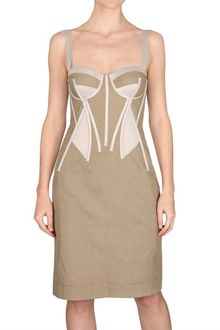 Bottega Veneta Cotton Gabardine Corset Dress - Lyst