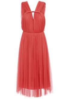Lanvin Gathered Silk Tulle Dress - Lyst