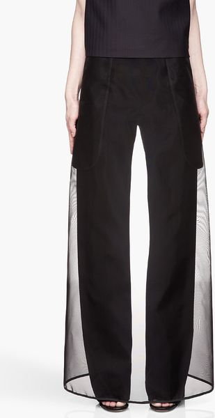 Maison Martin Margiela Black Sheer Skirt Layered Trousers - Lyst