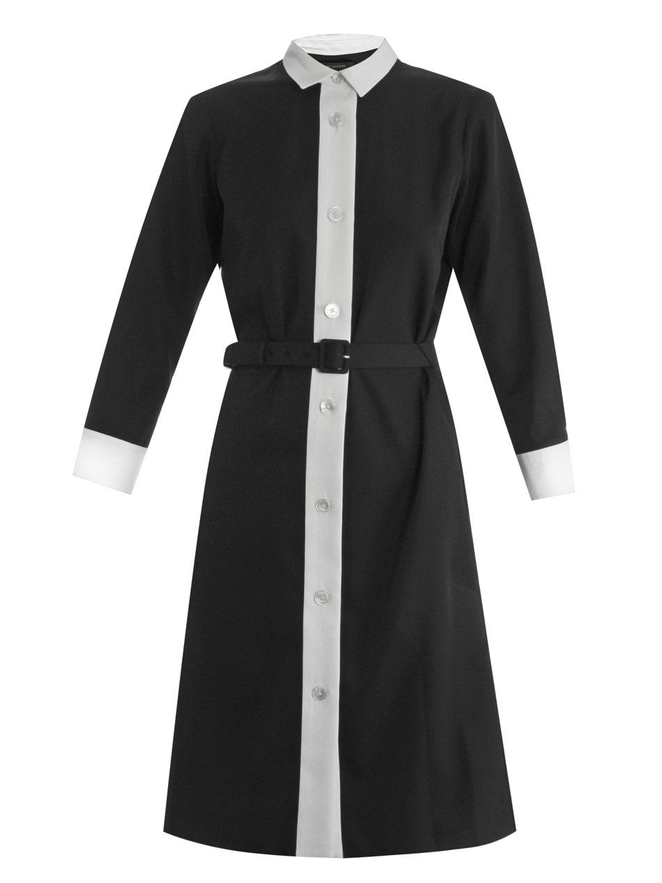 Black Dress Shirt White Collar