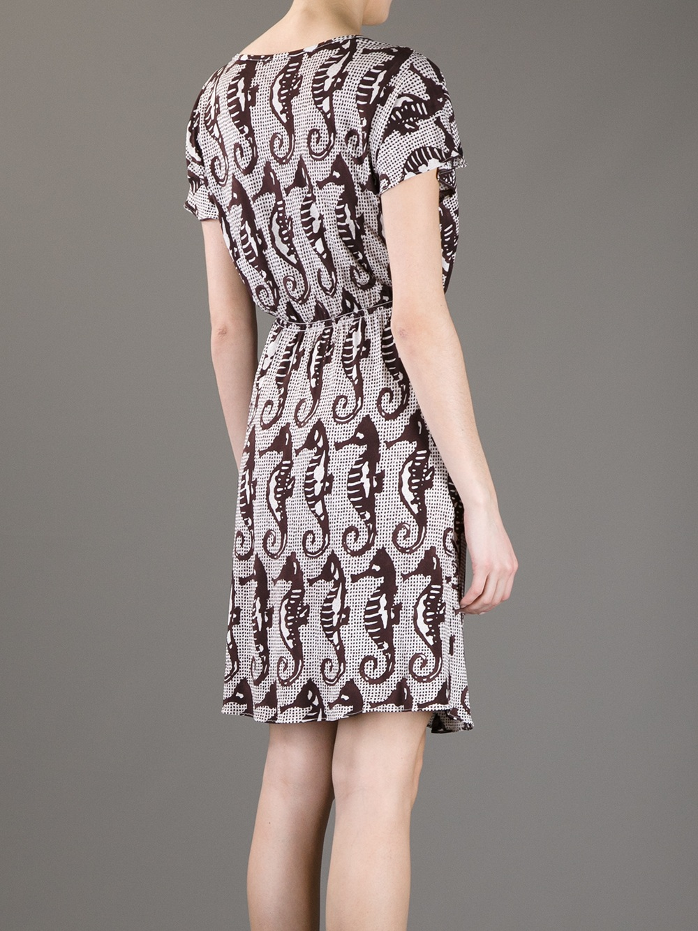 Boutique Moschino Seahorse Dress In Brown Lyst