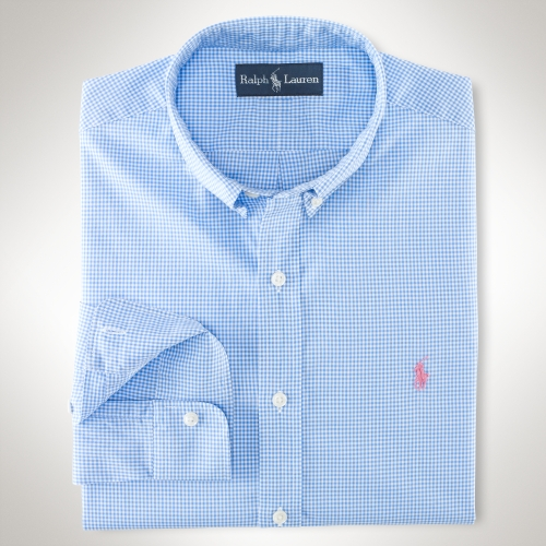 Polo ralph lauren slimfit gingham shirt in blue for men lyst for Mens blue gingham shirt