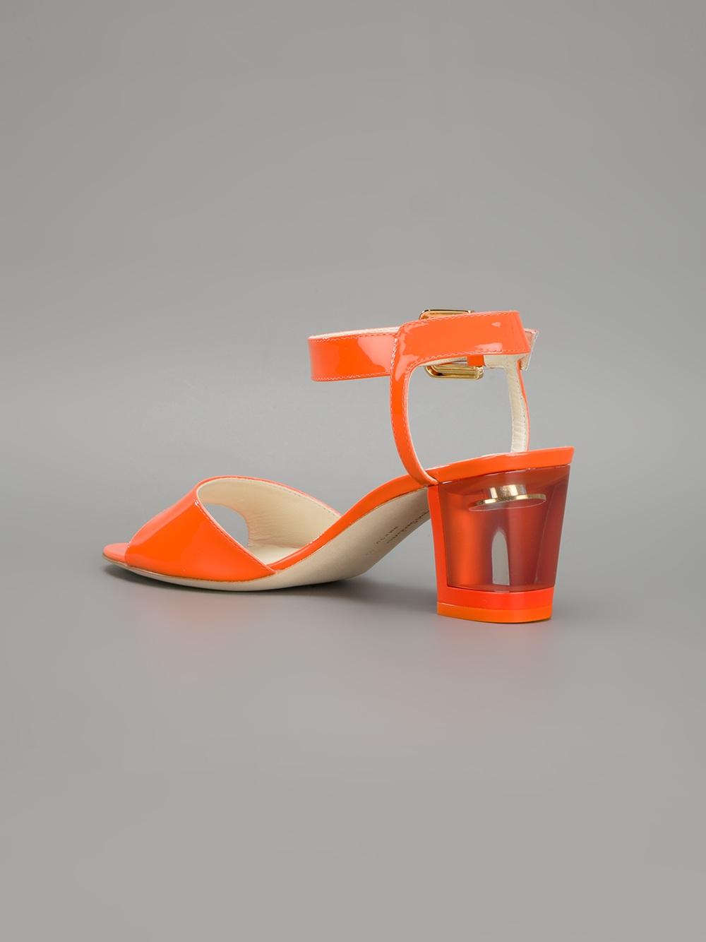 Lyst Rupert Sanderson Block Heel Sandals In Orange