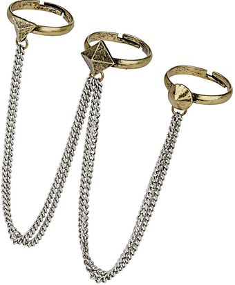 Topshop Stud Chain Ring Pack - Lyst
