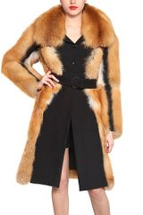 Viktor & Rolf Wool Cloth Red Fox Fur Coat - Lyst