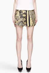 Balmain Black and Yellow Printed Silk Tap Shorts - Lyst