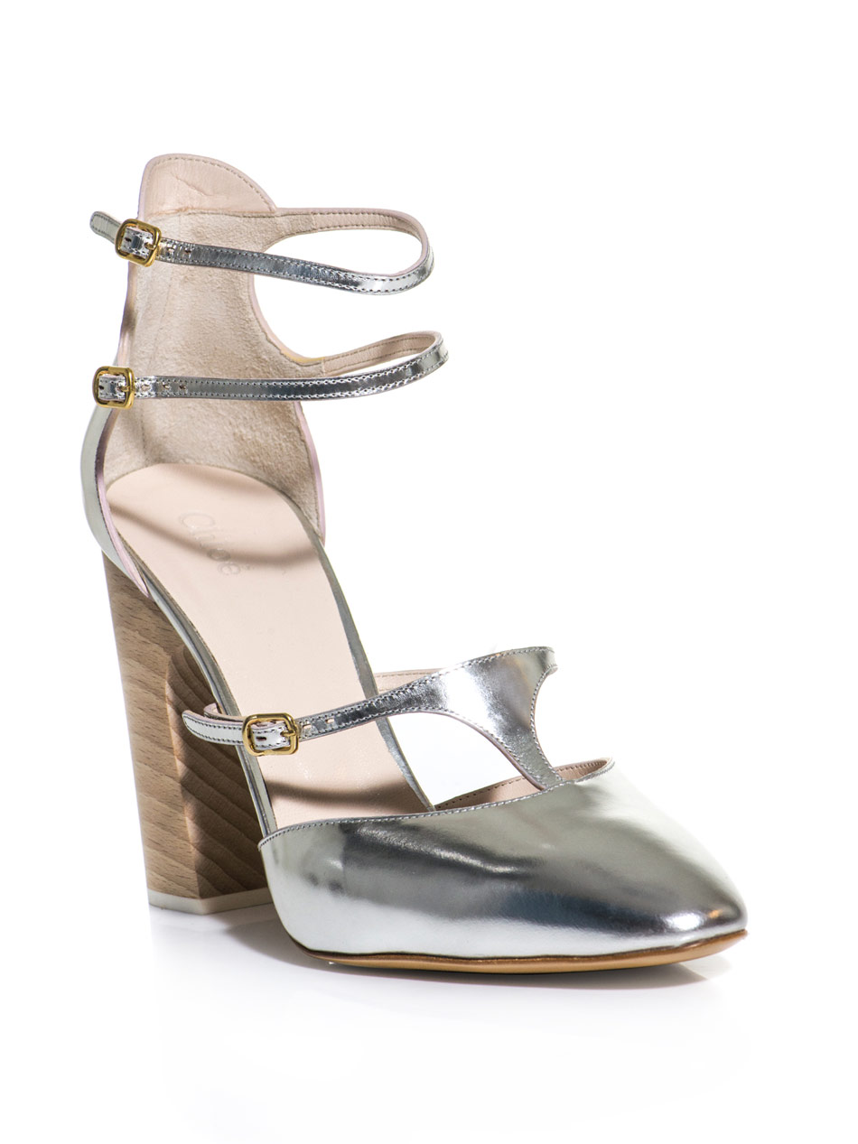 Lyst Chlo 233 Metallic Leather Block Heel Shoes In Metallic