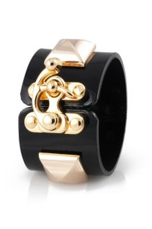 Fallon Jewelry Classique Xl Pyramid Latch Cuff Black Patent - Lyst