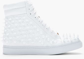 Jeffrey Campbell White Alva Studded Hightop Sneakers - Lyst