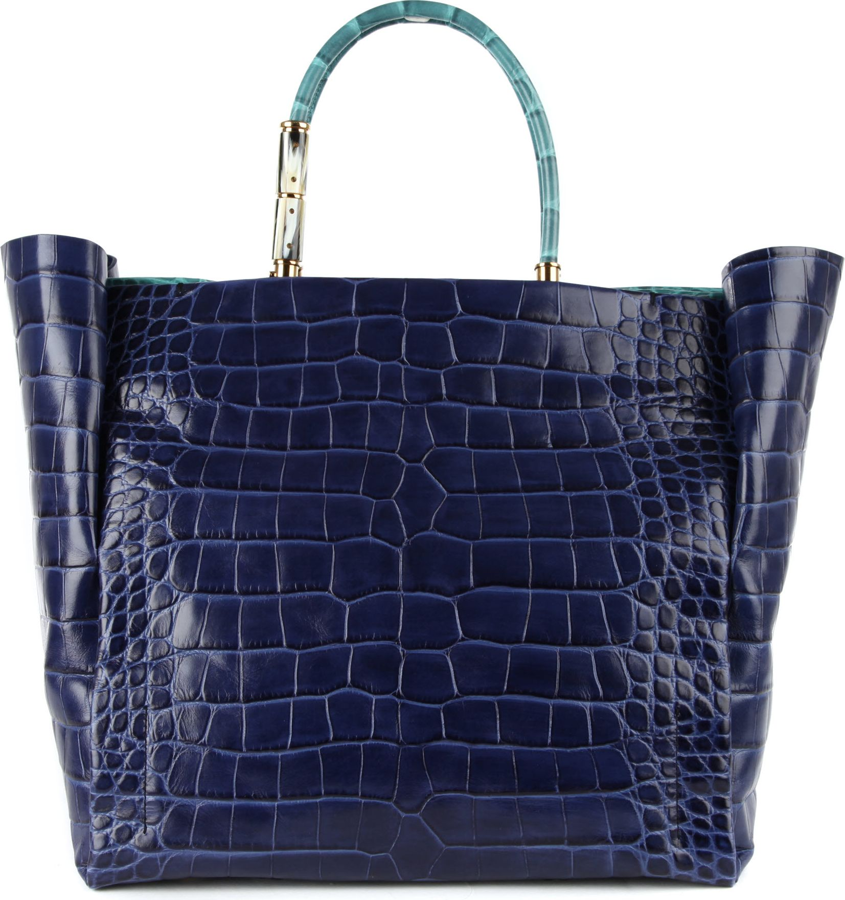 Lanvin Moon River Mockcroc Tote in Blue (navy) | Lyst